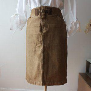 Ralph Lauren Tan/Brown Denim Skirt Size 10